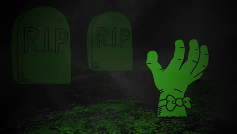 Halloween-background-animation-with-hand-in-cemetery-2