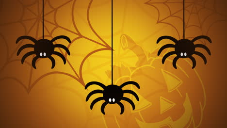 Halloween-animation-with-spiders-and-pumpkin-on-yellow-background