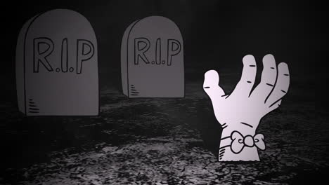 Halloween-background-animation-with-hand-in-cemetery-3