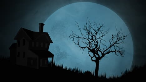 Halloween-background-animation-with-house-and-moon