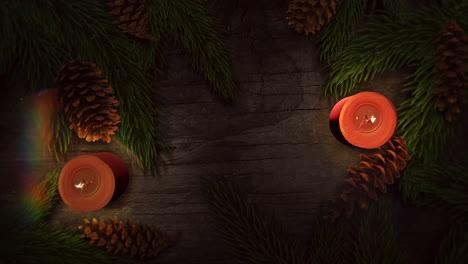 Primer-Plano-Animado-Vela-Navideña-Y-Ramas-De-árboles-Verdes-3