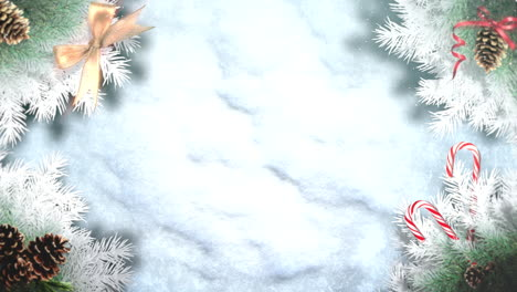 Animated-closeup-green-tree-branches-and-toys-on-snow-background