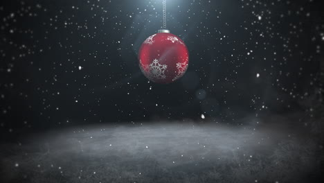 Animated-close-up-white-snowflakes-and-red-balls