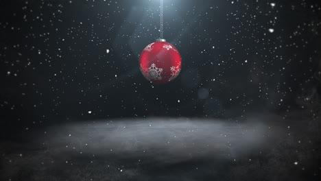 Animierte-Nahaufnahme-Weiße-Schneeflocken-Und-Rote-Kugeln-3