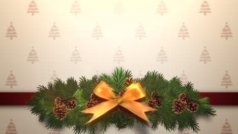 Animierte-Nahaufnahme-Weihnachten-Grüne-Äste-Auf-Geschenkbox-1