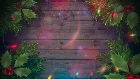 Primer-Plano-Animado-Colorido-Guirnalda-Y-Ramas-De-árboles-Verdes-De-Navidad