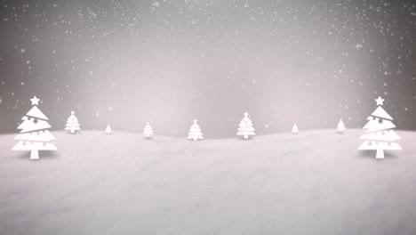 Animierte-Nahaufnahme-Berge-Mit-Wald-Und-Schneelandschaft-1