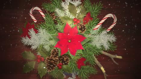 Primer-Plano-Animado-De-Copos-De-Nieve-Blancos-En-Dulces-Y-Ramas-Verdes-De-Navidad
