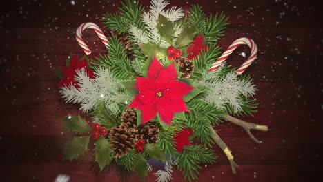 Primer-Plano-Animado-Copos-De-Nieve-Blancos-En-Dulces-Y-Ramas-Verdes-De-Navidad