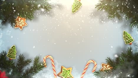 Animated-closeup-Christmas-green-tree-branches-and-toys-1