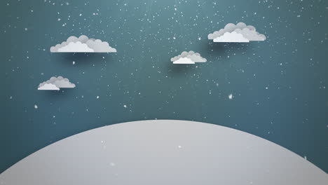 Animated-close-up-blue-sky-with-clouds-and-snowing-landscape-1