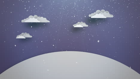Animated-close-up-blue-sky-and-clouds-and-snowing-landscape