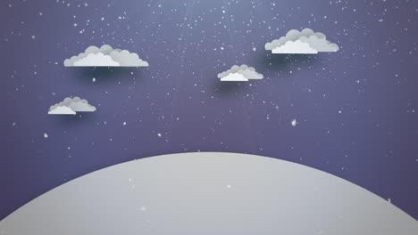 Animados-De-Cerca-El-Cielo-Azul-Y-Las-Nubes-Y-El-Paisaje-Nevado