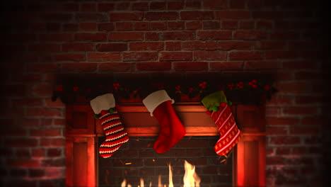 Chimenea-De-Primer-Plano-Animada-Y-Regalos-En-Los-Calcetines-De-Navidad