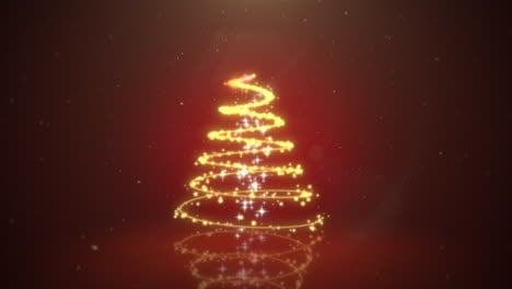 Animated-closeup-Christmas-tree-on-dark-red-background