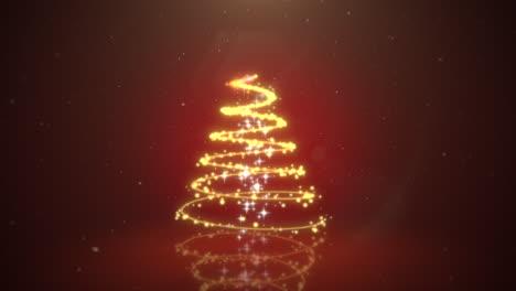 Animierte-Nahaufnahme-Weihnachtsbaum-Auf-Dunkelrotem-Hintergrund