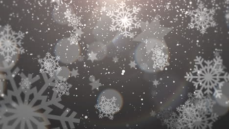 White-snowflake-falling-Happy-New-Year-and-Merry-Christmas-shiny-background