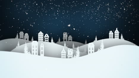 Animated-close-up-night-village-and-snowing-landscape