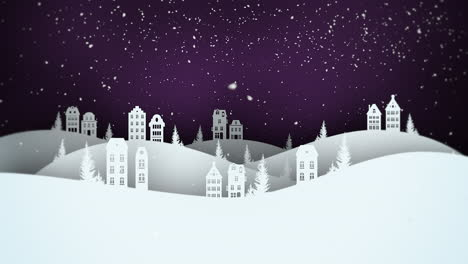 Animated-closeup-night-village-and-snowing-landscape