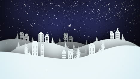 Animated-closeup-night-village-and-snowing-landscape-1