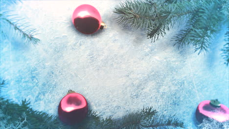 Animated-close-up-red-balls-and-Christmas-green-tree-branches-2