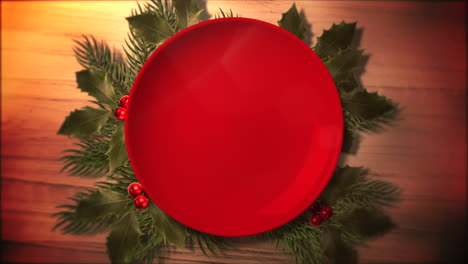 Animated-close-up-Christmas-green-tree-branches-and-plate-for-candy