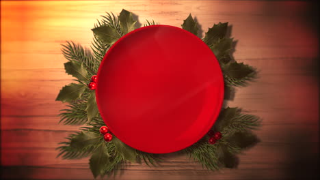 Animated-closeup-Christmas-green-tree-branches-and-plate-for-candy