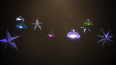 Movimiento-De-Primer-Plano-Animado-Bolas-De-Colores-Y-Copos-De-Nieve-2