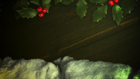 Animierte-Nahaufnahme-Weißer-Schnee-Und-Grüner-Weihnachtszweig
