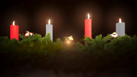 Animated-closeup-green-tree-branches-Christmas-candles