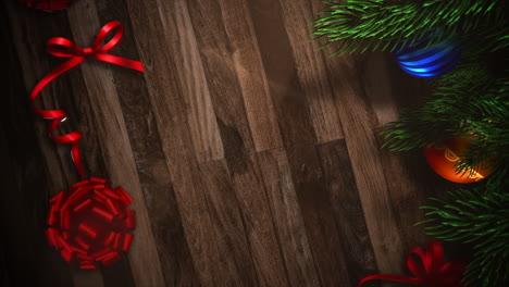 Animierte-Großansicht-Geschenkboxen-Und-Grüne-Äste-Mit-Kugeln