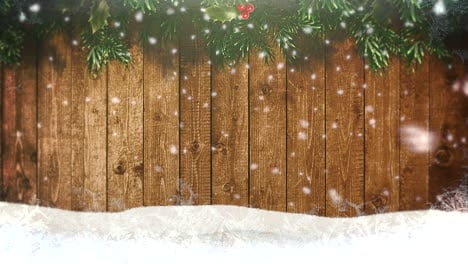 Animated-closeup-white-snowflakes-and-wood-background