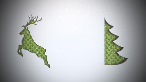 Primer-Plano-Animado-árbol-De-Navidad-Verde-Y-Ciervos-Sobre-Fondo-De-Nieve