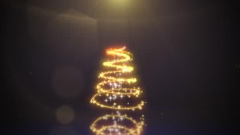 Animierte-Nahaufnahme-Weihnachtsbaum-Auf-Dunklem-Hintergrund
