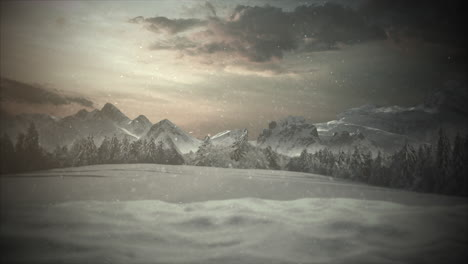 Animated-close-up-mountains-and-snowing-landscape