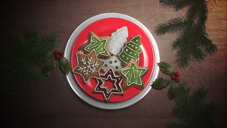 Animated-closeup-candy-and-Christmas-pie-on-wood-background