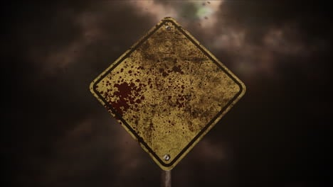 Mystical-horror-background-with-road-sign-and-dark-blood