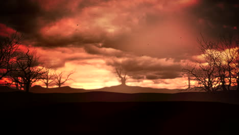 Mystical-animation-halloween-background-with-dark-clouds-and-mountains