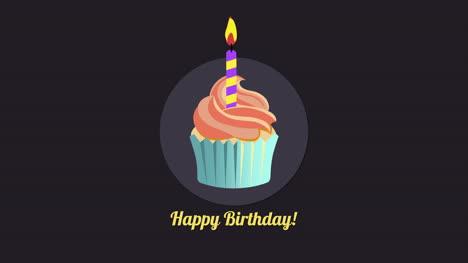 Primer-Plano-Animado-Texto-De-Feliz-Cumpleaños-Con-Muffin