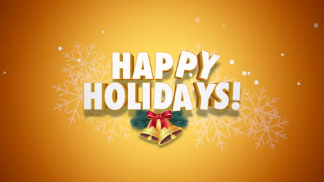 Animated-closeup-Happy-Holidays-text-and-bells-on-yellow-background