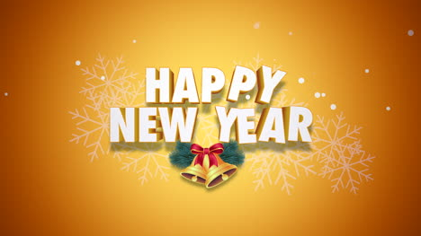 Animated-closeup-Happy-New-Year-text-and-bells-on-yellow-background