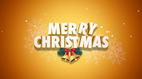Animated-closeup-Merry-Christmas-text-and-bells-on-yellow-background