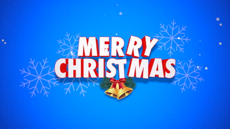 Animated-closeup-Merry-Christmas-text-and-bells-on-blue-background