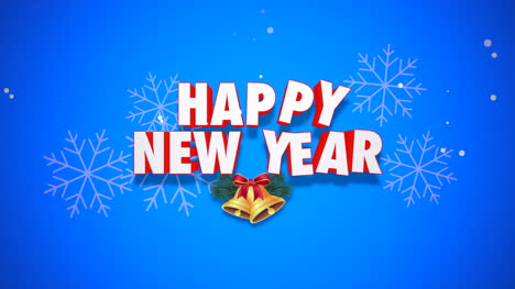 Animated-closeup-Happy-New-Year-text-and-bells-on-blue-background