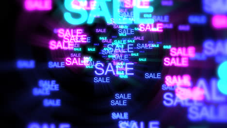 Motion-of-neon-text-Sale-in-dark-background