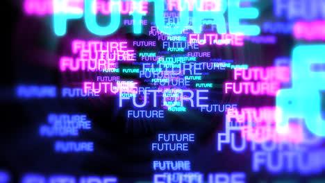 Movimiento-Del-Texto-De-Neón-Futuro-En-Fondo-Oscuro