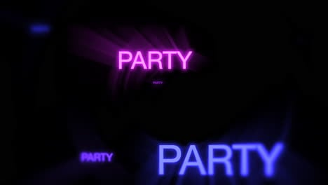 Motion-of-neon-text-Party-in-dark-background-1