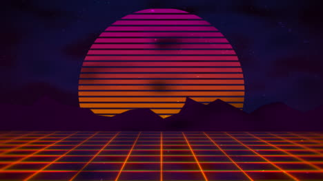Motion-retro-abstract-background-with-red-grid-and-mountain