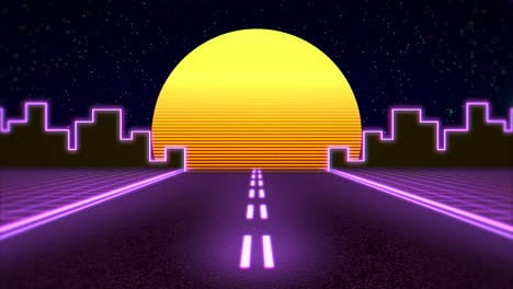 Motion-retro-abstract-background-with-purple-road-and-city