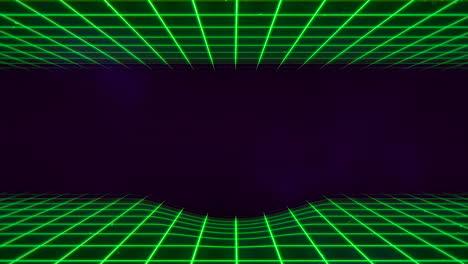 Bewegung-Retro-grüne-Linien-Im-Weltraum-Mit-Abstraktem-Hintergrund